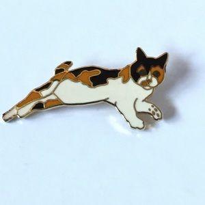 Vintage Wm Spear Design 1988 Enamel Calico Cat